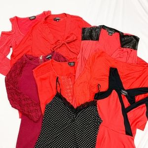 Lot of 8 Red & Black Tops! BEBE WHBM Express